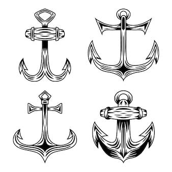 Sistema de la ilustración aislada ancla retra de la nave del vintage en un fondo blanco.