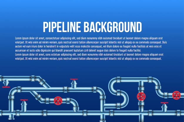 Sistema industrial de tuberías de petróleo, agua y gas.