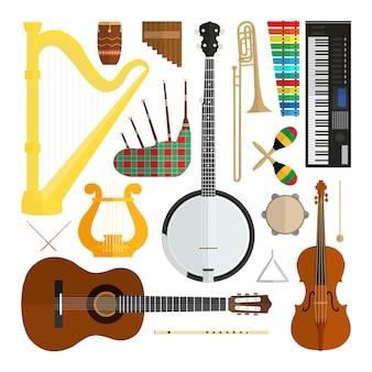 Sistema de instrumentos musicales del diseño plano moderno del vector aislados en el fondo blanco.