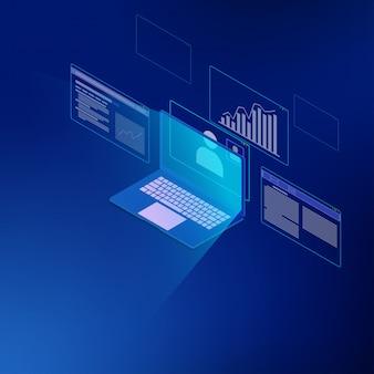 Sistema isométrico de análisis de negocios.