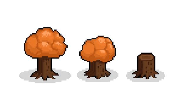 Sistema isométrico del árbol del otoño de la historieta del arte del pixel. 8 bits.