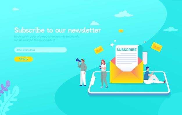 Sistema de marketing de suscripción por correo electrónico, las personas usan teléfonos inteligentes y se suscriben y reciben el boletín