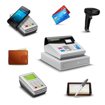 Sistema de pago realista con lector de código de barras billetera cheque.