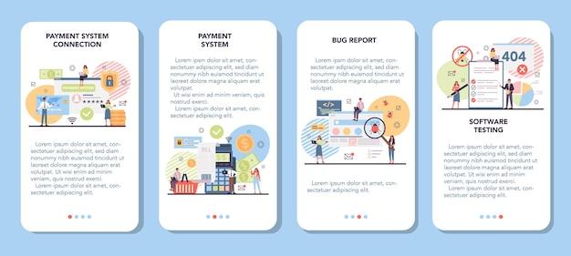 Sistema de pago del sitio web que prueba el conjunto de banners de aplicaciones móviles