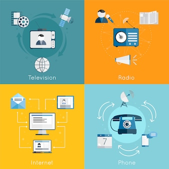 Sistema plano de la composición de los elementos de la comunicación de los medios de comunicación de internet radio teléfono aislado ilustración vectorial