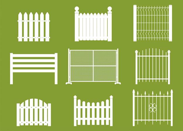 Sistema plano del vector blanco de las cercas aislado en fondo.
