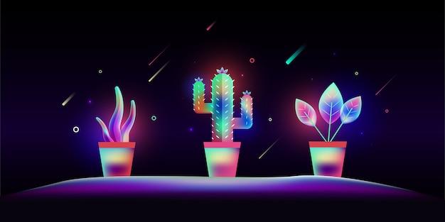 Sistema de plantas coloridas de la flor en estilo ligero del arte de la fantasía.