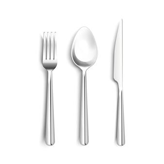 El sistema realista de los cubiertos brillantes del metal con la cuchara de la bifurcación del cuchillo con la raya negra en la manija aisló el ejemplo del vector