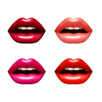 Sistema realista de los labios de la mujer con el ejemplo aislado brillante del vector del colorante