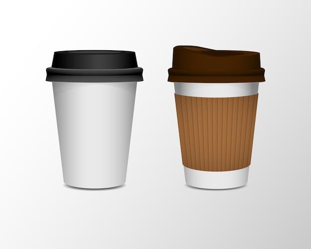 Sistema realista de la taza de café del papel en blanco 3d aislado en el fondo blanco