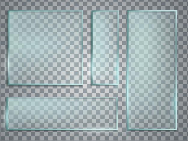 Sistema realista del vector de la placa de cristal verde. textura de vidrio con sombra y reflejos.