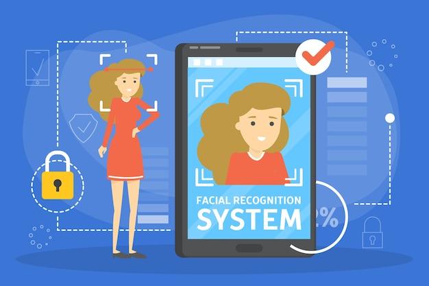 Sistema de reconocimiento facial en concepto de teléfono móvil