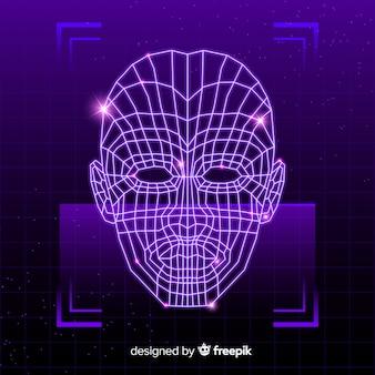 Sistema de reconocimiento facial futurista abstracto.