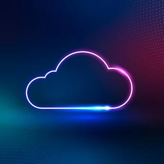 Sistema de redes digitales de icono de nube de neón rosa