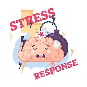Sistema de respuesta de estrés cerebros conceptuales vector ilustración
