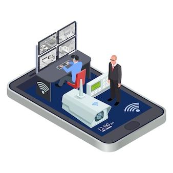 Sistema de seguridad cctv isométrico