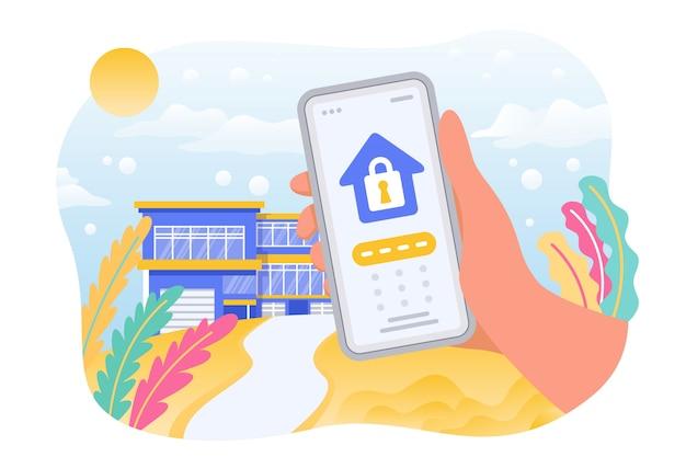 Sistema de seguridad de la ilustración del hogar inteligente