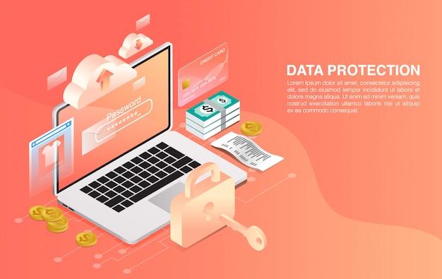 Sistema de seguridad para laptop. negocio . protección de redes y datos