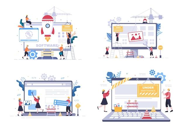 Sistema de software en mantenimiento ilustración vectorial. sitio web de error, desarrollo y actualización de páginas web en aplicaciones móviles para plantilla de póster