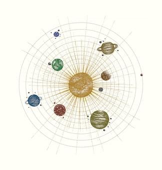 Sistema solar en estilo dotwork. planetas en órbita. dibujado a mano vintage ilustración colorida.