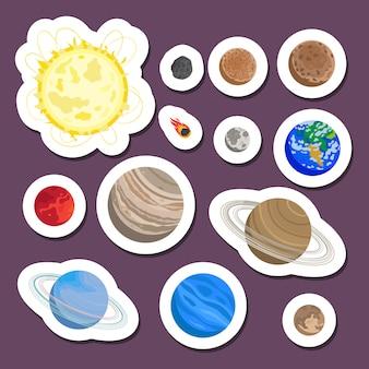 Sistema solar de pegatinas del planeta.