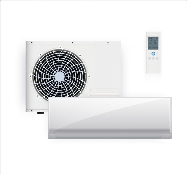 Sistema split de aire acondicionado inverter. sistema de control de clima frío y frío. acondicionamiento realista con control remoto. ilustración
