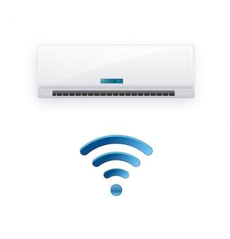 Sistema split de aire acondicionado inverter. sistema de control de clima frío y frío. acondicionamiento realista con control wifi a través de internet. ilustración
