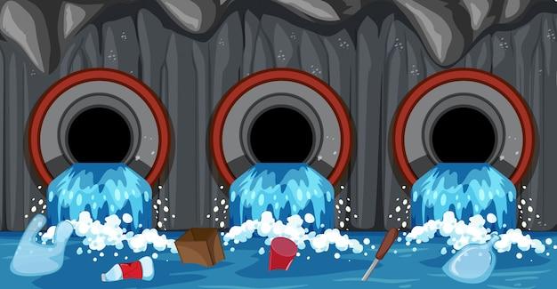 Sistema de tubería de alcantarillado desde el hogar