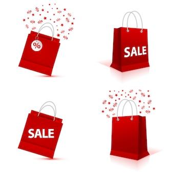 Sistema vacío en blanco de la bolsa de papel de las compras, color rojo