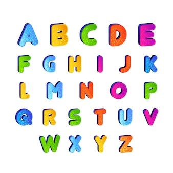 Sistema del vector infantil del alfabeto de la fuente en diseño colorido. letras alfabéticas de dibujos animados