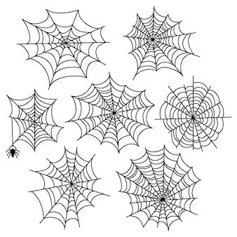 Sistema del vector del web de araña de halloween elementos de decoración de telaraña aislados