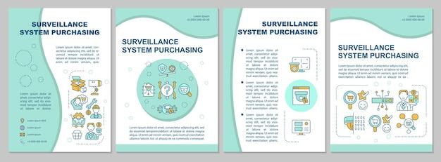 Sistema de vigilancia comprando plantilla de folleto de menta. folleto, folleto, impresión de folletos, diseño de portada con iconos lineales. diseños vectoriales para presentación, informes anuales, páginas publicitarias.