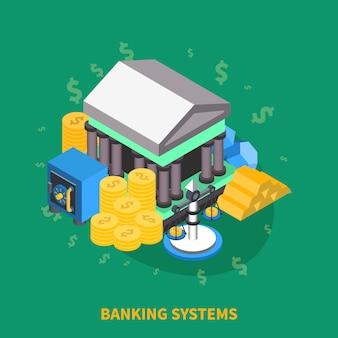Sistemas bancarios isométricos redondos composición