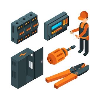 Sistemas eléctricos isométricos. trabajador electricista con herramientas eléctricas industriales para reparación y configuración.