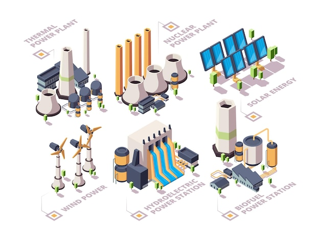 Sistemas energéticos. naturaleza poderosa fábricas paneles solares eléctricos turbina molinos de viento energía verde isométrica.