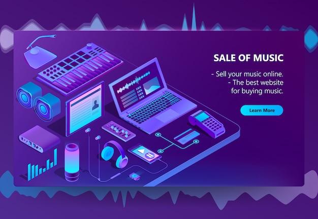 Sitio de comercio electrónico isométrico 3d de música