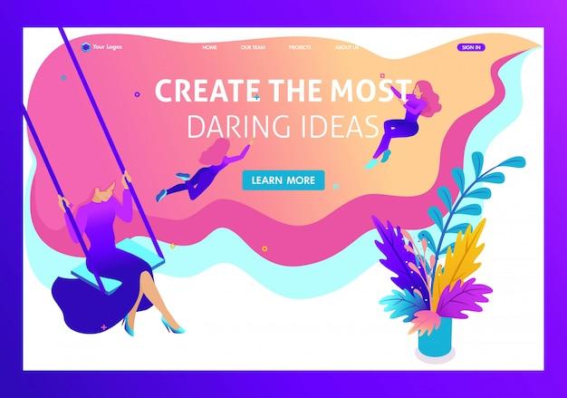 Sitio conceptual isométrico brillante para crear e implementar las ideas más atrevidas en el dibujo. página de inicio de plantilla de sitio web