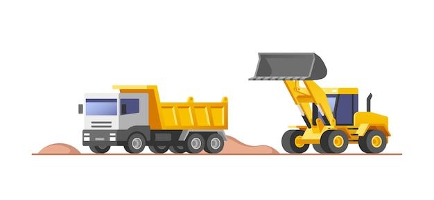 Sitio de construcción. cargador moviendo tierra y descargando en un camión volquete.