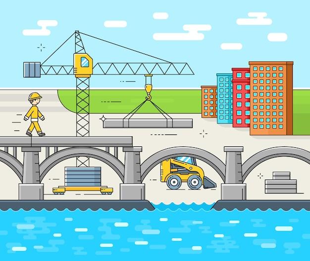 Sitio de construcción de puentes. estructura de construcción de obras de carreteras de carreteras. ilustración