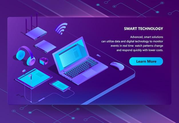 Sitio isométrico 3d con dispositivos inteligentes