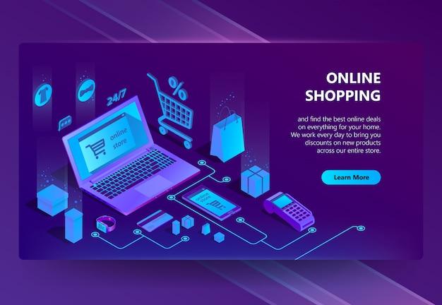 Sitio isométrico del comercio electrónico 3d, tienda en línea
