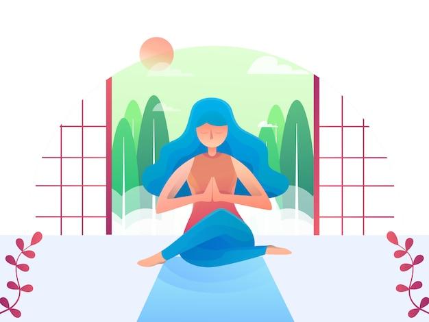 Sitio plano de yoga mujer relajante ilustración plana