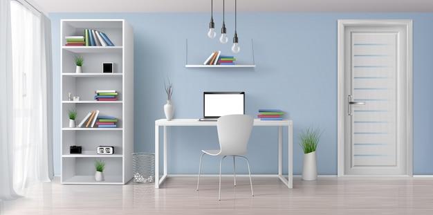 Sitio soleado de la oficina en casa con el interior realista simple, blanco del vector 3d de los muebles. ordenador portátil con pantalla en blanco en la mesa de trabajo, estantería en la pared azul, estante con reloj y macetas de ilustración