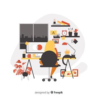 Sitio de trabajo de diseñador gráfico