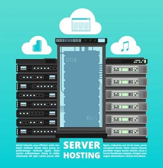 Sitio web de alojamiento en la nube, almacenamiento de datos digitales y soporte de servidor de computadora