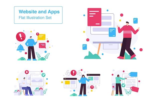 Sitio web y aplicación conjunto ilustración plana