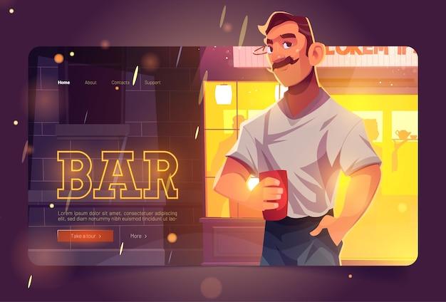 Sitio web de bar con hombre en el fondo del frente del pub