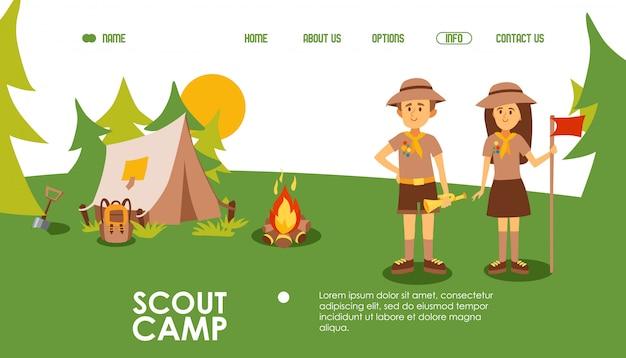 Sitio web del campamento scout, ilustración. plantilla de página de aterrizaje para campamentos de verano, escena al aire libre con carpa, fogata y líderes de exploradores. personaje de dibujos animados amigable hombre y mujer