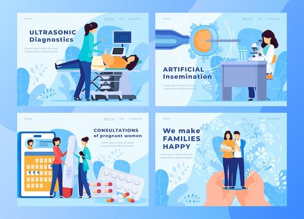 Sitio web del centro de atención médica prenatal y atención del embarazo, ilustración