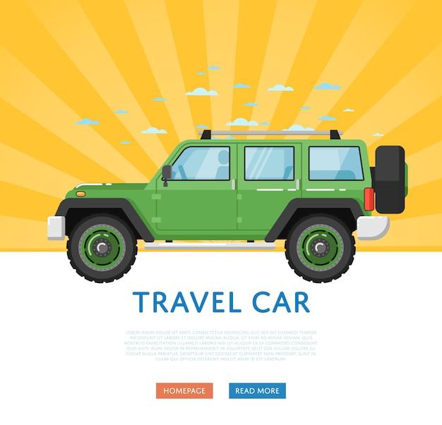 Sitio web con coche de viaje extremo